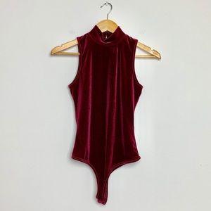 2/$15 Olivaceous Velvet Red Bodysuit